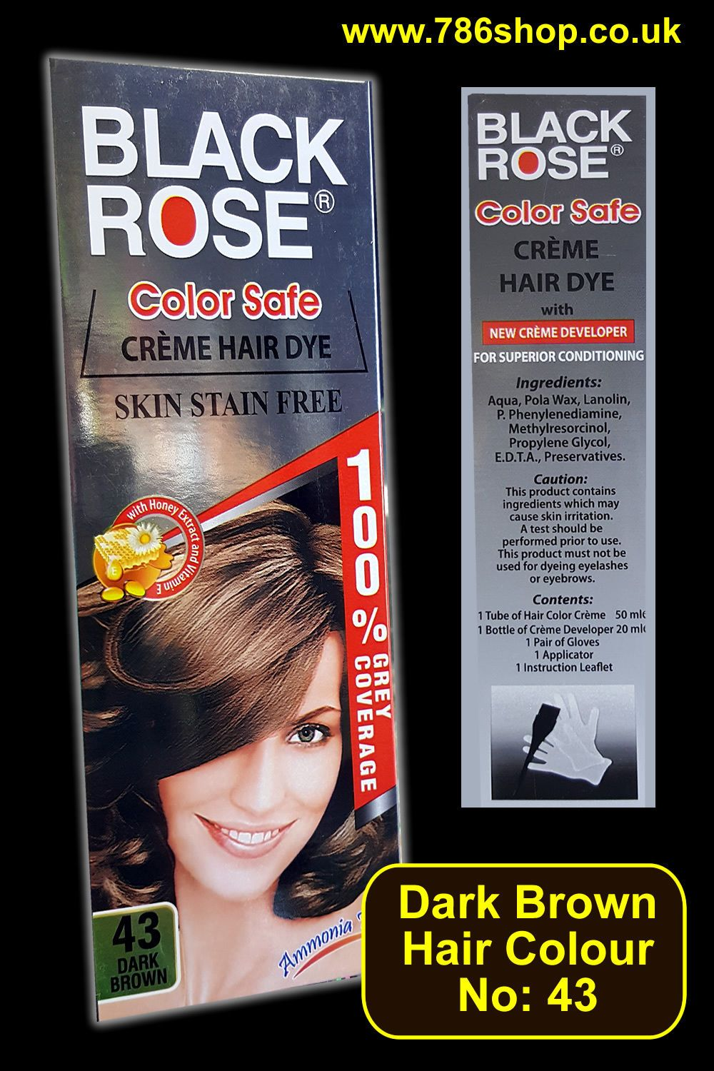 Hair Colour Tube No 43 Dark Brown By Black Rose New Ammonia Free