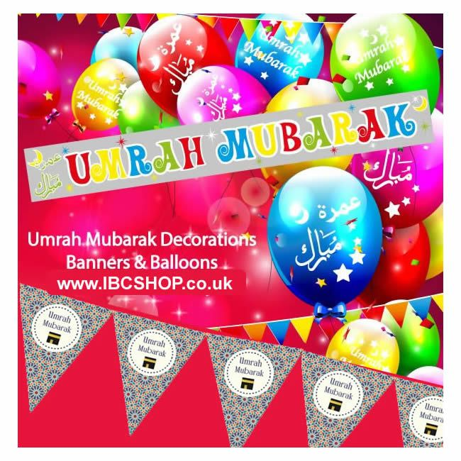 Umrah Banner: Umrah Mubarak Balloons & Banners NEW Islamic Decorate